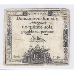 ASSIGNAT DE 15 SOLS - SERIE 1640 - 04/01/1792