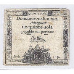 ASSIGNAT OF 15 SOLS - SERIE 1640 - 04/01/1792
