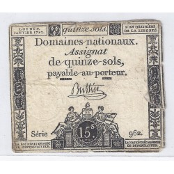 ASSIGNAT OF 15 SOLS - SERIE 962 - 04/01/1792