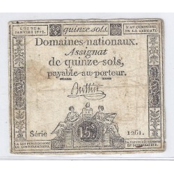 ASSIGNAT DE 15 SOLS - SERIE 1261 - 04/01/1792