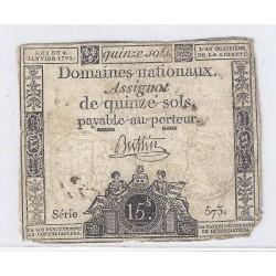 ASSIGNAT DE 15 SOLS - SERIE 573 - 04/01/1792
