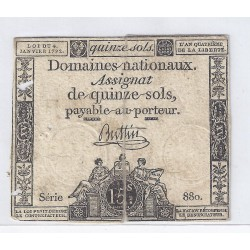 ASSIGNAT DE 15 SOLS - SERIE 880 - 04/01/1792