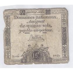 ASSIGNAT DE 15 SOLS - SERIE 1049 - 04/01/1792