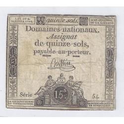 ASSIGNAT DE 15 SOLS - SERIE 54 - 04/01/1792