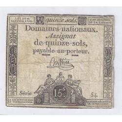 ASSIGNAT OF 15 SOLS - SERIE 54 - 04/01/1792