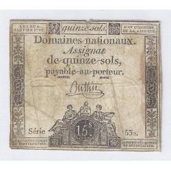 ASSIGNAT DE 15 SOLS - SERIE 532 - 04/01/1792