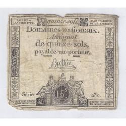 ASSIGNAT DE 15 SOLS - SERIE 230 - 04/01/1792
