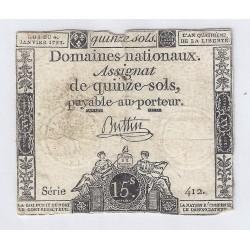 ASSIGNAT DE 15 SOLS - SERIE 412 - 04/01/1792