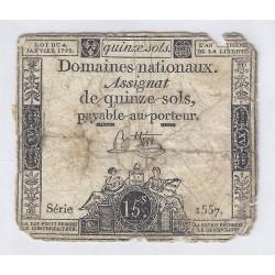 ASSIGNAT DE 15 SOLS - SERIE 1557 - 04/01/1792