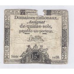 ASSIGNAT DE 15 SOLS - SERIE 1058 - 04/01/1792