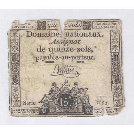 ASSIGNAT DE 15 SOLS - SERIE 562 - 04/01/1792