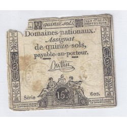 ASSIGNAT DE 15 SOLS - SERIE 602 - 04/01/1792