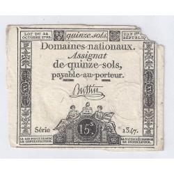 ASSIGNAT DE 15 SOLS - SERIE 1347 - 24/10/1792