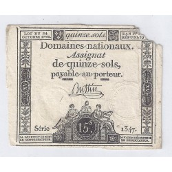 ASSIGNAT OF 15 SOLS - SERIE 1347 - 24/10/1792