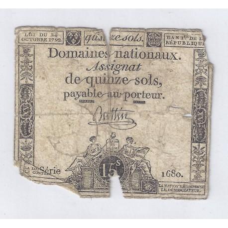 ASSIGNAT DE 15 SOLS - SERIE 1680 - 24/10/1792