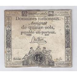 ASSIGNAT DE 15 SOLS - SERIE 245 - 04/01/1792