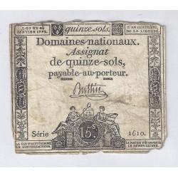 ASSIGNAT DE 15 SOLS - SERIE 1610 - 04/01/1792