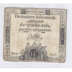 ASSIGNAT DE 15 SOLS - SERIE 1393 - 04/01/1792