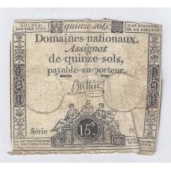 ASSIGNAT DE 15 SOLS - SERIE 29 - 04/01/1792