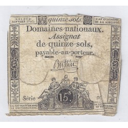 ASSIGNAT OF 15 SOLS - SERIE 29 - 04/01/1792