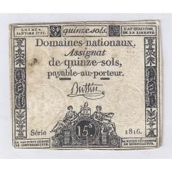 ASSIGNAT DE 15 SOLS - SERIE 1816 - 04/01/1792