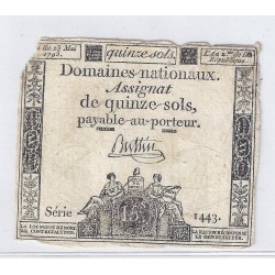 ASSIGNAT DE 15 SOLS - SERIE 1143 - 23/05/1793