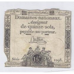 ASSIGNAT DE 15 SOLS - SERIE 1098 - 23/05/1793