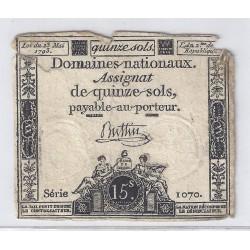 ASSIGNAT DE 15 SOLS - SERIE 1070 - 23/05/1793
