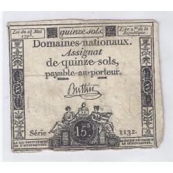 ASSIGNAT DE 15 SOLS - SERIE 1132 - 23/05/1793