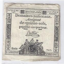 ASSIGNAT DE 15 SOLS - SERIE 727 - 23/05/1793
