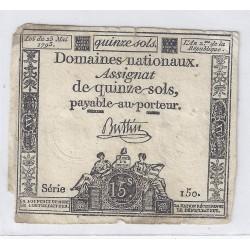 ASSIGNAT DE 15 SOLS - SERIE 150 - 23/05/1793