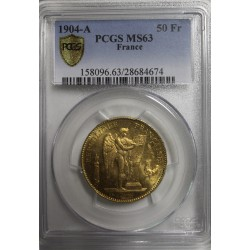 FRANCE - KM 831 - 50 FRANCS 1904 A - GOLD - GENIUS - PCGS MS 63