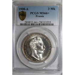 ALLEMAGNE - PRUSSE - KM 527 - 3 MARK 1908 A - PCGS MS 66 +
