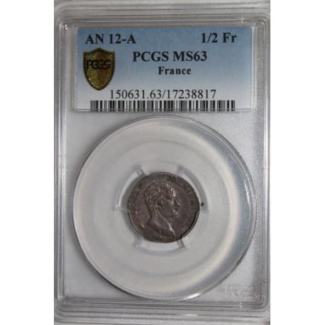 GADOURY 394 - 1/2 FRANC 1803 - AN 12 A - PREMIER CONSUL - PCGS MS 63