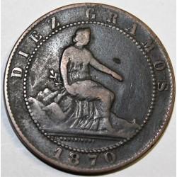 ESPAGNE - KM 663 - 10 CENTIMOS 1870