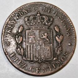 ESPAGNE - KM 675 - 10 CENTIMOS 1879 OM - ALPHONSE XII