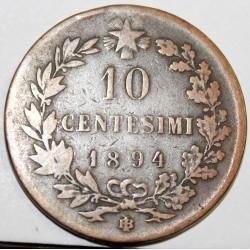 ITALIE - KM 27.1 - 10 CENTESIMI 1894 BI - HUMBERT I