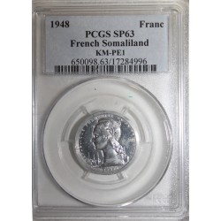 FRANZÖSISCH SOMALILAND - KM PE1 - 1 FRANC 1948 - PROBE DICKABSCHLAG MÜNZE - 104 ex. - PCGS SP 63