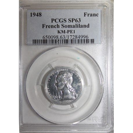 FRENCH SOMALILAND - KM PE1 - 1 FRANC 1948 - TRIAL PIEFORT COIN - 104 ex. - PCGS SP 63