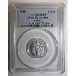NEW CALEDONIA - KM PE2 - 1 FRANC 1949 - TRIAL PIEFORT COIN - 104 ex. - PCGS SP 63