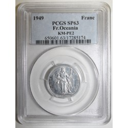 FRENCH ESTABLISHMENTS IN OCEANIA - KM PE2 - 1 FRANC 1949 - TRIAL PIEFORT COIN - 104 ex. - PCGS SP 63