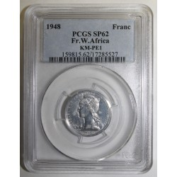 FRENCH WEST AFRICA - KM PE1 - 1 FRANC 1948 - TRIAL PIEFORT COIN - 104 ex. - PCGS SP 62