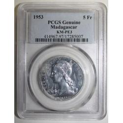 MADAGASCAR - KM PE3 - 5 FRANC 1953 - TRIAL PIEFORT COIN - 104 ex. - PCGS GENUINE