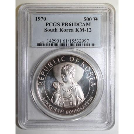 SOUTH KOREA - KM 12 - 500 WON 1970 - SOKKURAM BODHISATTVA - PCGS PR 61 DCAM