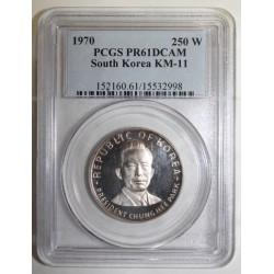 SÜDKOREA - KM 11 - 250 WON 1970 - CHUNG HEE PARK - PCGS PR 61 DCAM