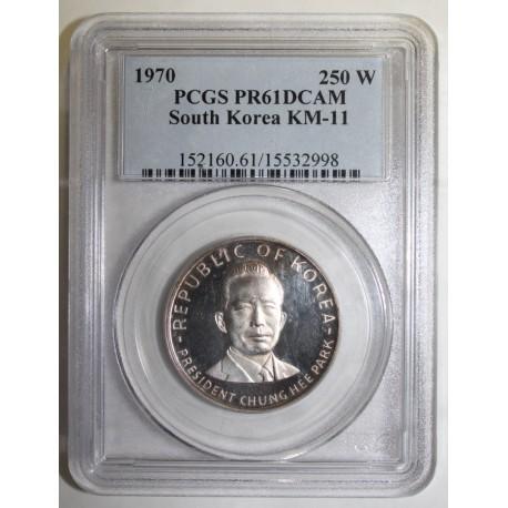 CORÉE DU SUD - KM 11 - 250 WON 1970 - CHUNG HEE PARK - PCGS PR 61 DCAM