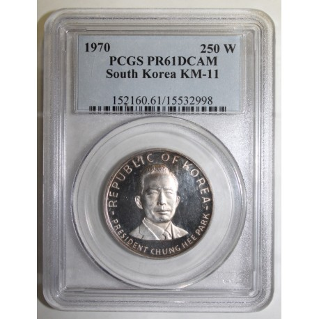 SOUTH KOREA - KM 11 - 250 WON 1970 - CHUNG HEE PARK - PCGS PR 61 DCAM