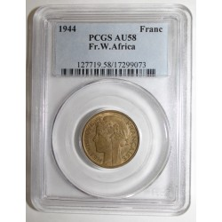 FRENCH WEST AFRICA - KM 2 - 1 FRANC 1944 - PCGS AU 58