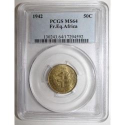 FRENCH EQUATORIAL AFRICA - 50 CENTIMES 1942 - PCGS MS 64