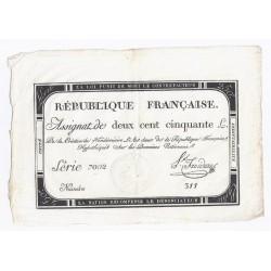 ASSIGNAT 250 LIVRES - 7 VENDEMIAIRE AN 2 - 28/09/1793 - DOMAINES NATIONAUX - TTB
